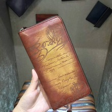 TERSE Handmade leather long font b wallet b font font b men b font luxury engraving
