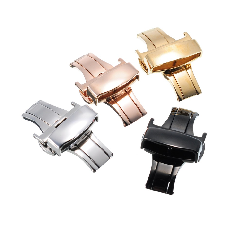 цены на Stainless Steel Watch Clasp 12mm 14mm 16mm 18mm 20mm 22 Double Push Butterfly Deployment Buckle Metal Lock for Watchband в интернет-магазинах