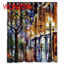 WONZOM Polyester Fabric Painting Trees Shower Curtains with 12 Hooks For Bathroom Decor Modern 3D Bath Waterproof Curtain