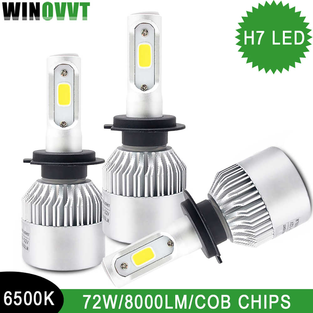 2Pcs/Lot H7 LED Car Headlight Bulbs Two Sides LED Single Beam 72W 6500K 8000Lm Super Bright COB Chips 12V Automotivo Fog Lights