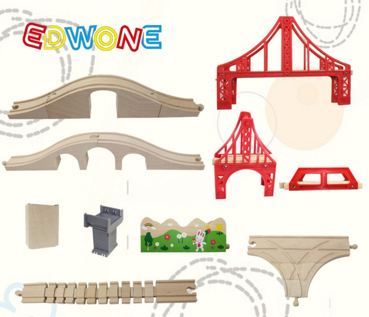 EDWONE star Rail/ stop rail/ cross rail accessories fit for Thomas and Brio Wooden Train Educational Boy/ Kids Toy
