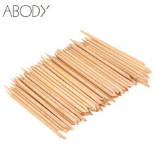100 Stuks Nail Art Orange Wood Stick Cuticle Pusher Remover Manicure Gereedschap Professionele Nail Accessoires(China)