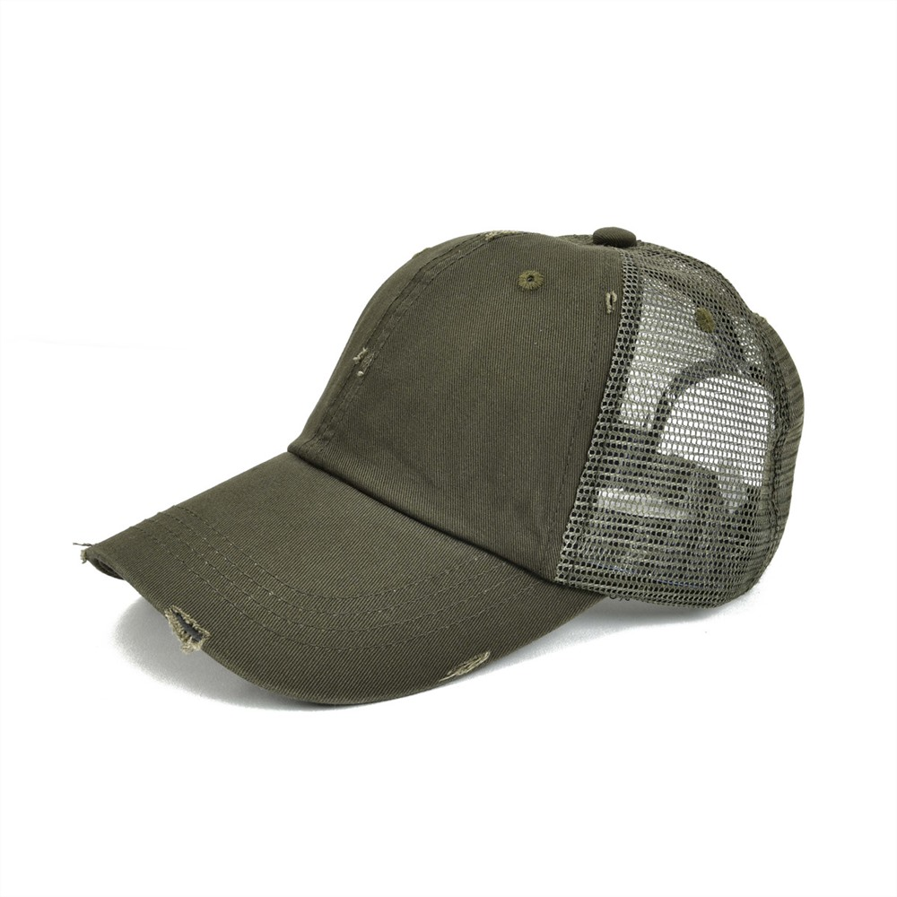 VOBOOM Frayed   Baseball     Cap   Men Women Olive Green Washed Cotton Adjustable Mesh Trucker Net Hat 020