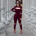 2017 New Women Long Sleeve For Women Combinaison Femme Sexy Club Ladies Rompers bodycon jumpsuit Hole Elastic O-neck jumpsuit