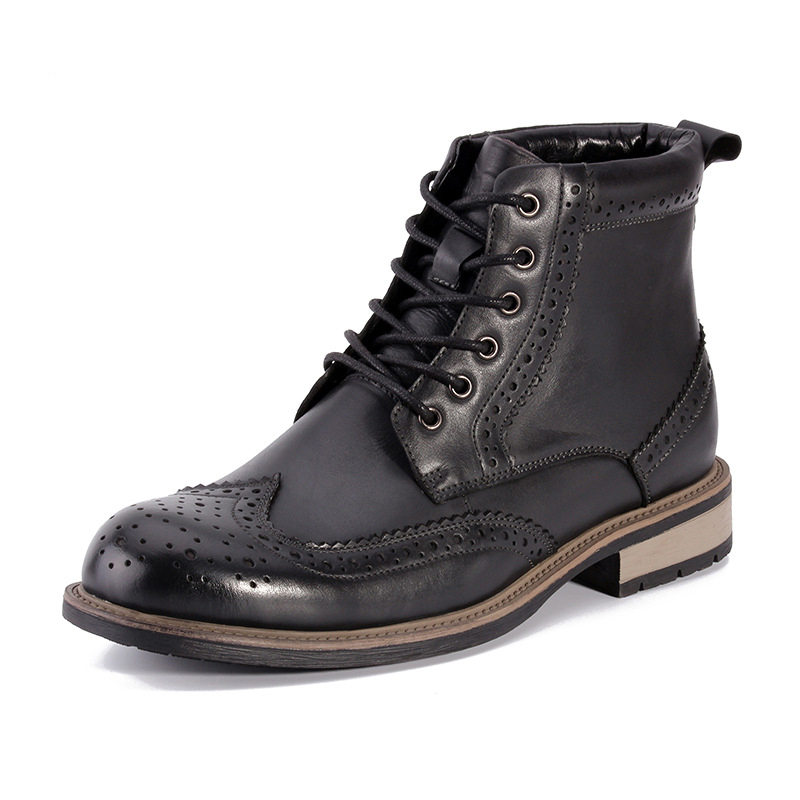 Brogue Boots Men Leather Ankle Boots Heeled Breathable Shoe Lace-up Teenager Footwear Spring Autumn Shoes New Fashion Boots Men fashion men s formal martin boots mens leather ankle boots lace up male boots footwear botas hombre spring autumn winter shoe