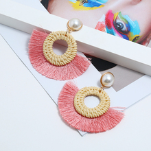 WNGMNGL Fashion Women Pearl Tassel Earrings And Brincos 6 Colors Hand Made Weaving Circle Round Dangle Jewelry
