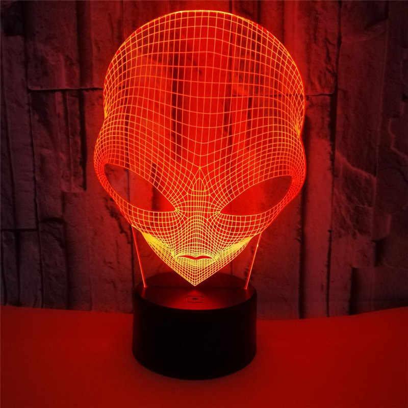 3D LED lampka nocna duże oczy obcy czynność rysunek 7 kolory dotykowy złudzenie optyczne USB lampa stołowa dekoracji domu dla dla dzieci prezent dla dzieci
