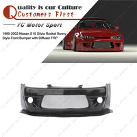 FRP Fiber Glass Bodykit Fit For 1999 2002 S15 Silvia Rocket Bunny Style Front Bumper Cover with Diffuser Lip & Rod & DRL