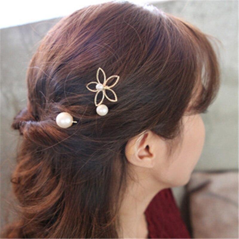 3PCS Five-petal flower pearl hairpin Korean wave hollow edge top