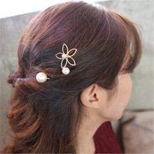 3PCS Five-petal flower pearl hairpin Korean wave hollow edge top