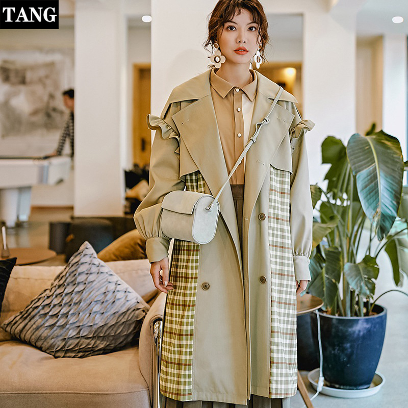 Tang 2019 Spring Long women Classic Double Breasted Belt Trench coat Plus Size Women Casual Plaid Coat