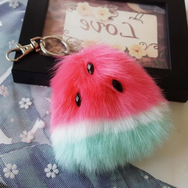 Bling-world  Watermelon Rabbit Fur Ball Keychain Bag Plush Car Key Ring Car Key Pendant  chaveiro AU31