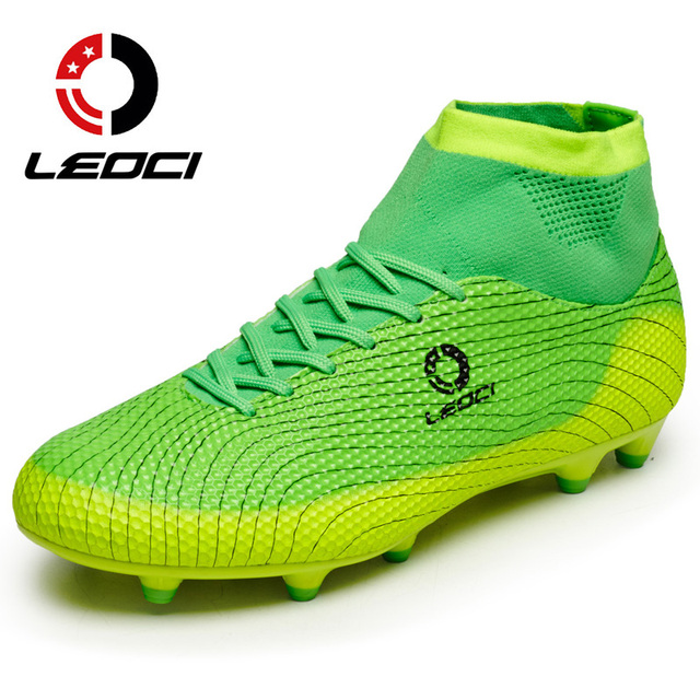 cfcbb3a0e LEOCI Men Soccer Shoes High Ankle Football Boots Outdoor Lawn AG Football  Boots Kids Boys Football Shoes Chaussures de Foot