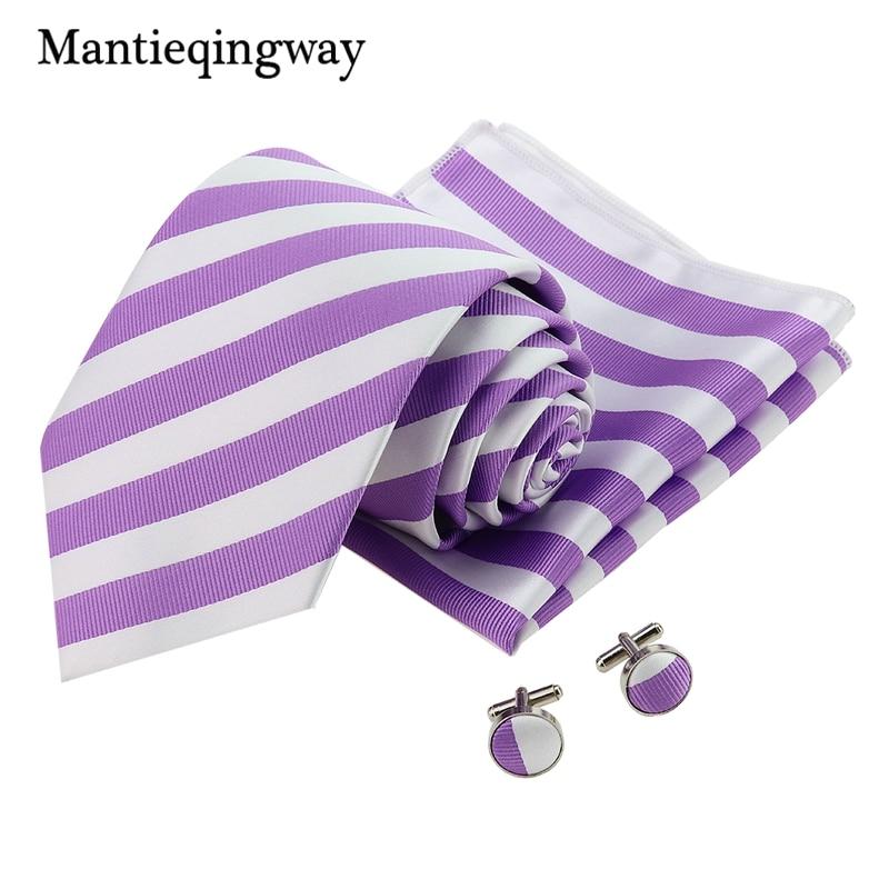 Mantieqingway 8.5cm Big Stripes Corbatas Handkerchief Cufflinks Sets For Men Purple Formal Gravata Necktie Set For Wedding