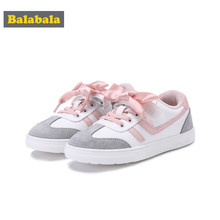 Balabala Girls Fleece-Lined Lace-up Sneakers for Toddlers Girl Kids Max-Suede-PU-Fabric Casual Sneakers with Silk Ribbon Tie(China)