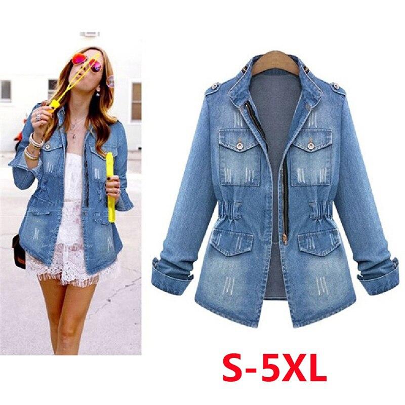 High Quality Casual Denim Outwear Tops Plus Size 5xl Denim Jackets Women Autumn Fashion Long Sleeve Jeans Coat