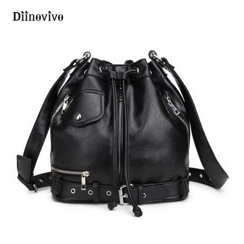 DIINOVIVO Fashion Rock Style Women Punk Shoulder Bags Youth Leather Handbags Gothic Designer Motorcycle Bucket Totes WHDV0145