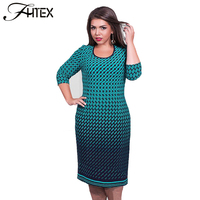 6XL Plus Size Dress Women Plaid 3 4 Sleeve Sheath Bodycon Party Dresses Elegant Big Size