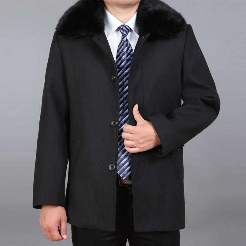 2020 New Men Wool Coat Autumn Wool Blend Jacket Winter Thick Woolen Coat Real Rabbit Fur Mens Pea Coat Erkek Mont Ceket M-4XL
