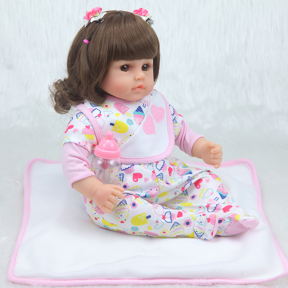 Forrsdor42cm cotton body lifelike newborn Baby girl with lovely baby clothes limited Collection toys Silicone Reborn Baby dolls