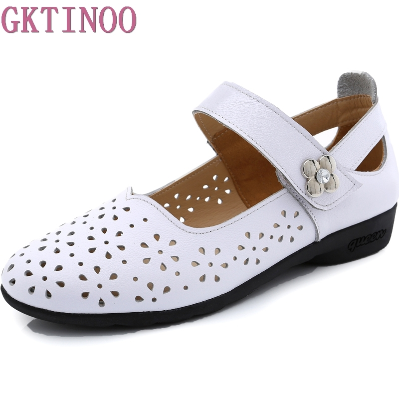 GKTINOO Hollow Out Genuine Leather Shoes Women Solid Sandals Women Flats Spring Summer Flat Shoes Woman Moccasins Big Size 34-43 punk style solid color hollow out ring for women