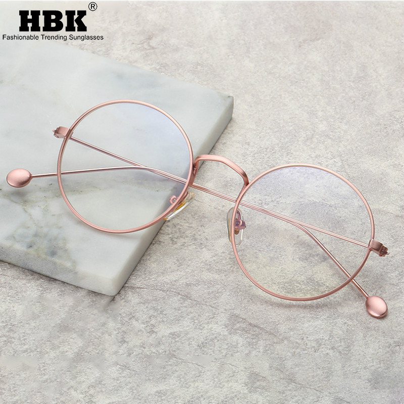 Vintage Anti Blue Light Glasses Frame Women Round Clear Computer Optical Eyewear Men Korean Design Gaming Transparent Eyeglasses