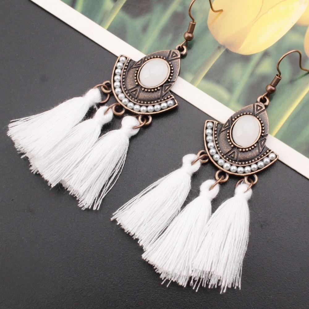 Drop-Earrings Crystal Jewelry Pearl Dangle Retro Resin Bohemia Women Summer Pendientes