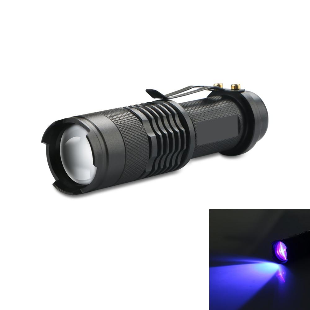 1~2pcs Powered UV Lamp Light Ultra Violet Flashlight 365nm 5W Adjustable Focus