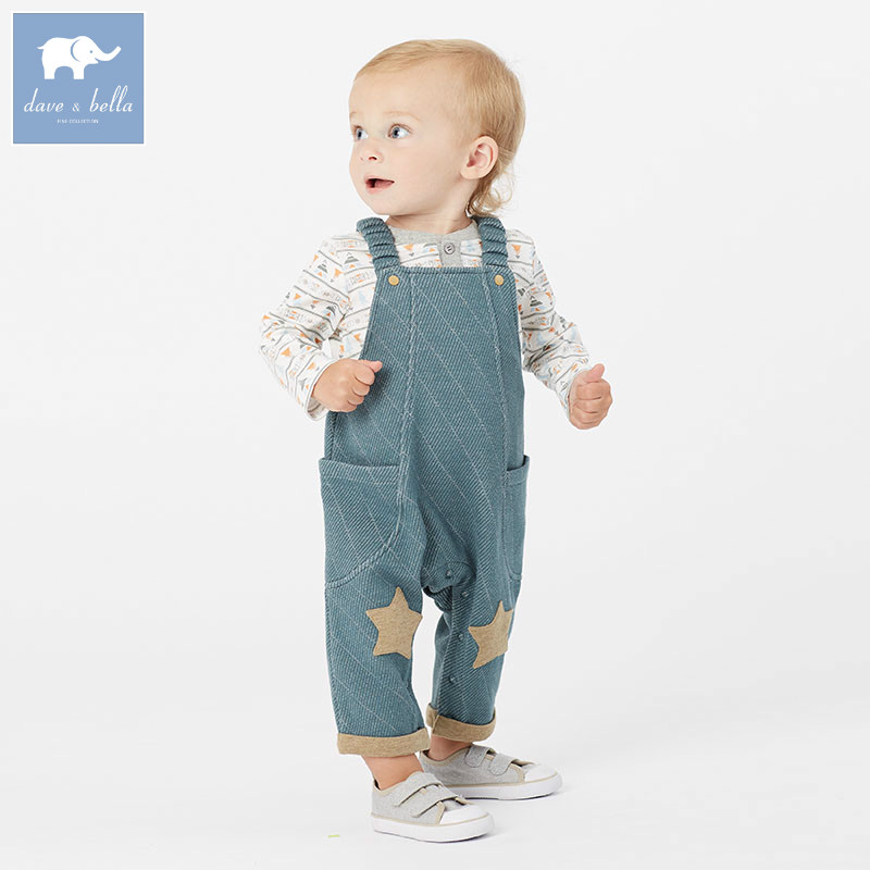 DB5941 dave bella autumn baby boys toddler stars print overalls children high quality overalls infant denim clothes купить в Москве 2019