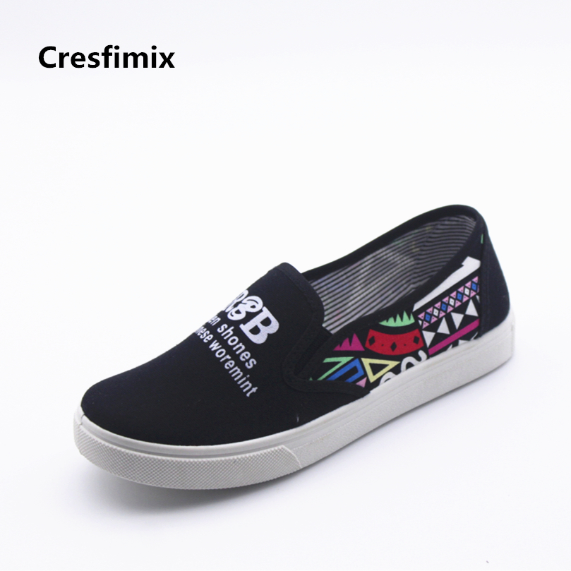 Cresfimix women fashion black letter printed flat shoes female cute canvas slip on loafers lady soft & comfortable shoes zapatos cresfimix women fashion