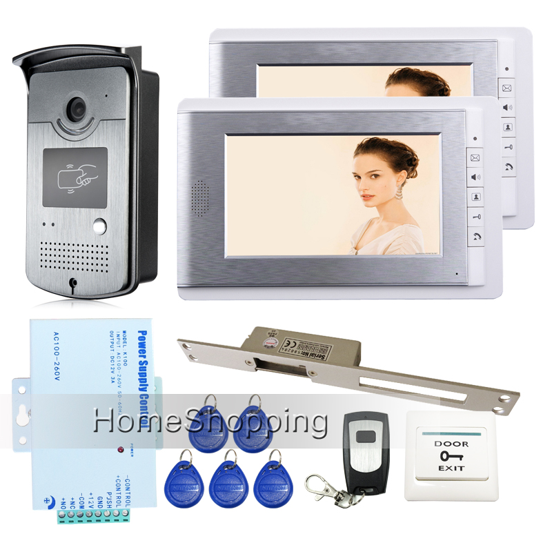 Brand New 7 inch Screen Video Door Phone Intercom Entry System + 2 Monitors + RFID Access Camera + 250 Strike Lock FREE SHIPPING new 7 inch color video door phone intercom system 2 monitors rfid access door bell camera 250mm long strike lock free shipping