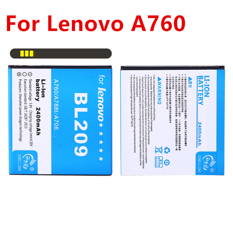 2PCS/<font><b>BL</b></font> <font><b>209</b></font> BL209 Battery For Lenovo A516 A706 A788T A820E A760 A378T A398T 2400mAh Replacement Mobile Phone Batteries image
