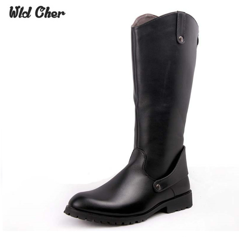 2017 Over Knee High Boots Mens Black Military Boots Natural Cow Leather Men Long Waterproof Snowboots Equestrian Motocycle Boots