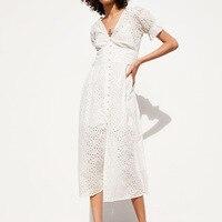 Women White Dress Cotton Hollow Out Embroidery 2019 Summer New Fashion Slim Lady's Mid Calf Sheath Dresses Feminino Vestidos