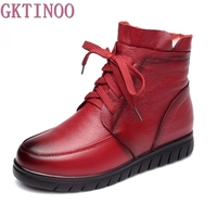 Winter Warm Women Shoes Woman Genuine Leather Flat Ankle Boots Female Lace Up Snow Boots Women