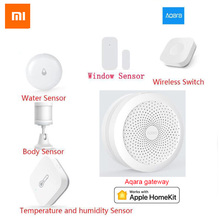Original XiaoMi aqara Smart Home Kits Gateway Hub Door Sensor Human Body Wireless Switch Humidity Water Sensor For Apple Homekit