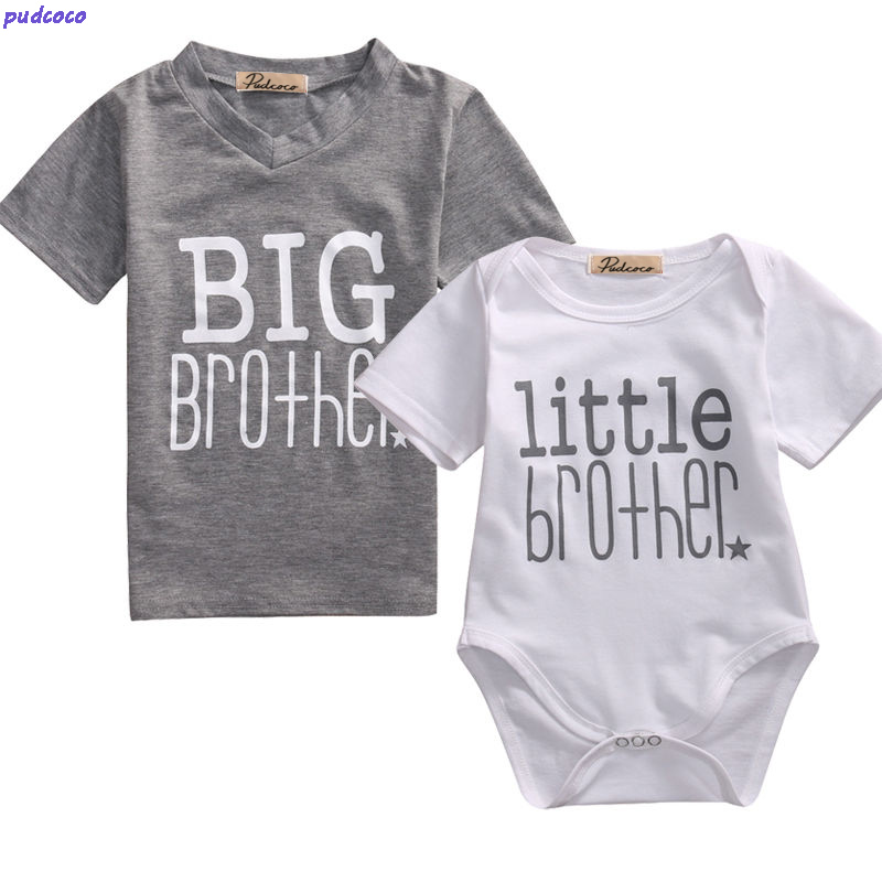 Mother & Kids Cute Brothers Clothes Little Brother Baby Boy Romper Big Boy T-shirt Tee Tops Brothers Matching Outfit Brotherhood Symbolic Refreshing And Enriching The Saliva