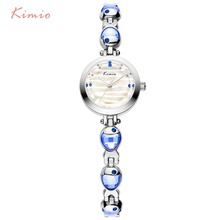 Kimio Brand Women Crystal Fish Bracelet Watches Simple Stainless Steel Gem Quart