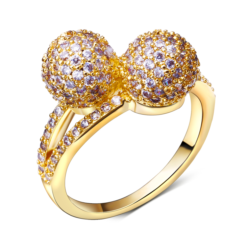 Double Ball Casual Copper Rings Gold Color Plated Cubic Zircon Ring