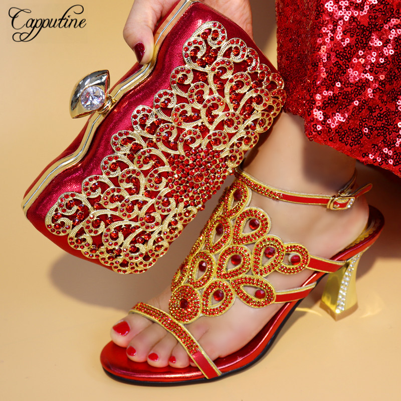 цена Capputine 2018 Newest Italian Shoes With Matching Bag Set For Wedding Hot Sale African Style Shoes And Bag Set For Party TX-25