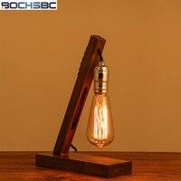 BOCHSBC Wood Base Table Light with Edison Bulb Desk Lamp for Bedroom Cafe Bar Study Room Vintage Nature Loft Industrial Lights