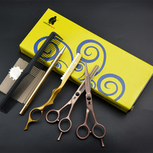 30% OFF HT9132 5.5 inch Professional Hair Cutting Scissors Set For Hairdressing salons Thinning Shear Haircut Trimmer Clipper(China)
