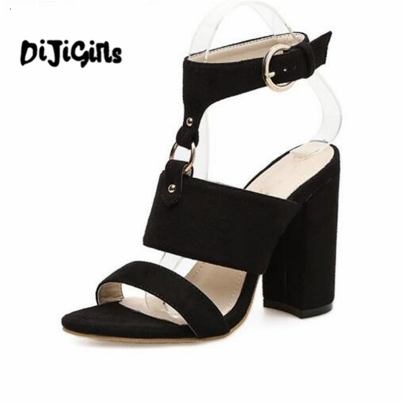 New Summer Peep Toe Ankle Strap High Heel Sandals platform shoes Lady Women Shoes Pumps Suede rough with sandalia feminina xiaying smile summer new woman sandals platform women pumps buckle strap high square heel fashion casual flock lady women shoes page 9