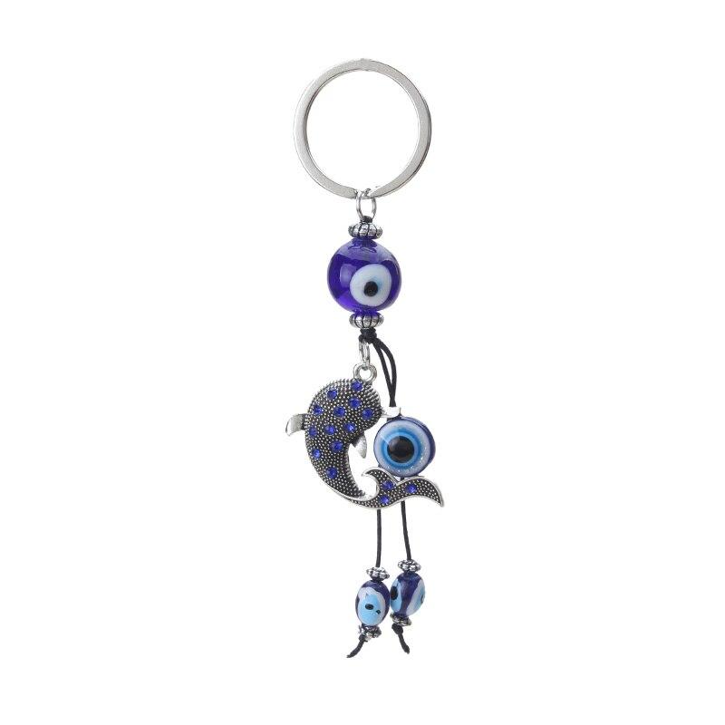 EVIL EYE new blue glass evil eye dolphin keychain car pendant metal Turkey eye keychain for man woman keychain car pendant