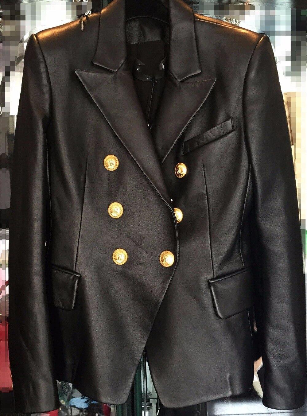 Jacket Blazer Runway Slim Gold Black Double-Breasted Women Fashion Luxury Buckles Sheepskin
