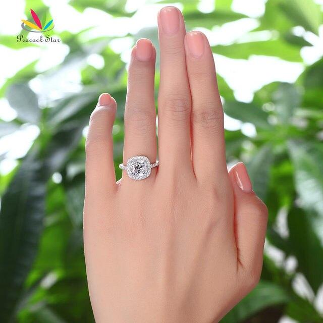 Pavone Stella Solido Argento 925 Bridal Anniversario di Matrimonio di Fidanzamento Anello di 3 Carati Taglio Cuscino CFR8138
