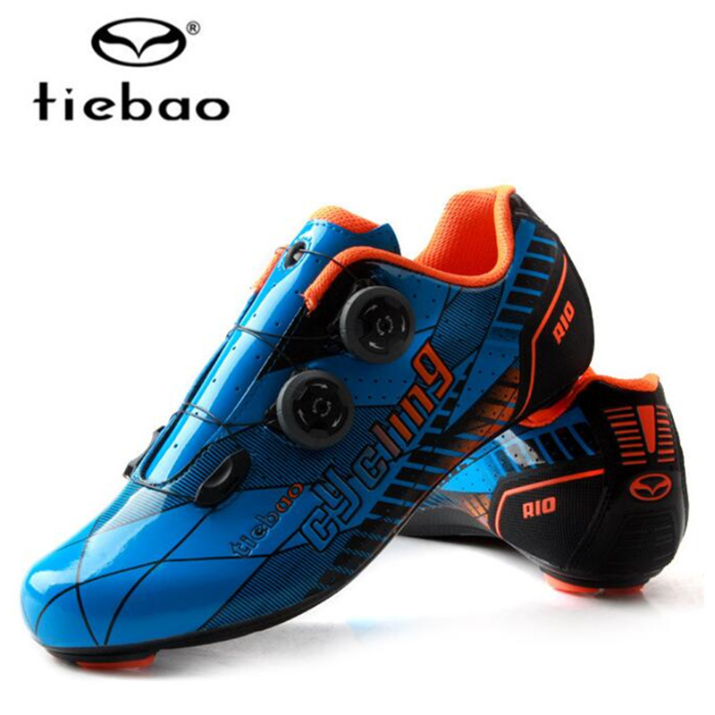 Spor ve Eğlence'ten Bisiklet Ayakkabıları'de Tiebao profesyonel bisiklet ayakkabı erkekler karbon Fiber yarış bisiklet yol ayakkabı kendinden kilitleme atletik bisiklet ayakkabı Sapatilha Ciclismo
