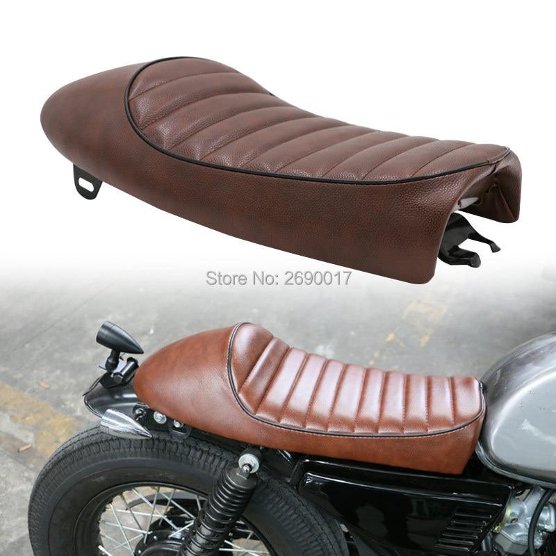Vintage Motorcycle Cafe Racer Seat Brown Hump Saddle Locomotive Chopper Custom