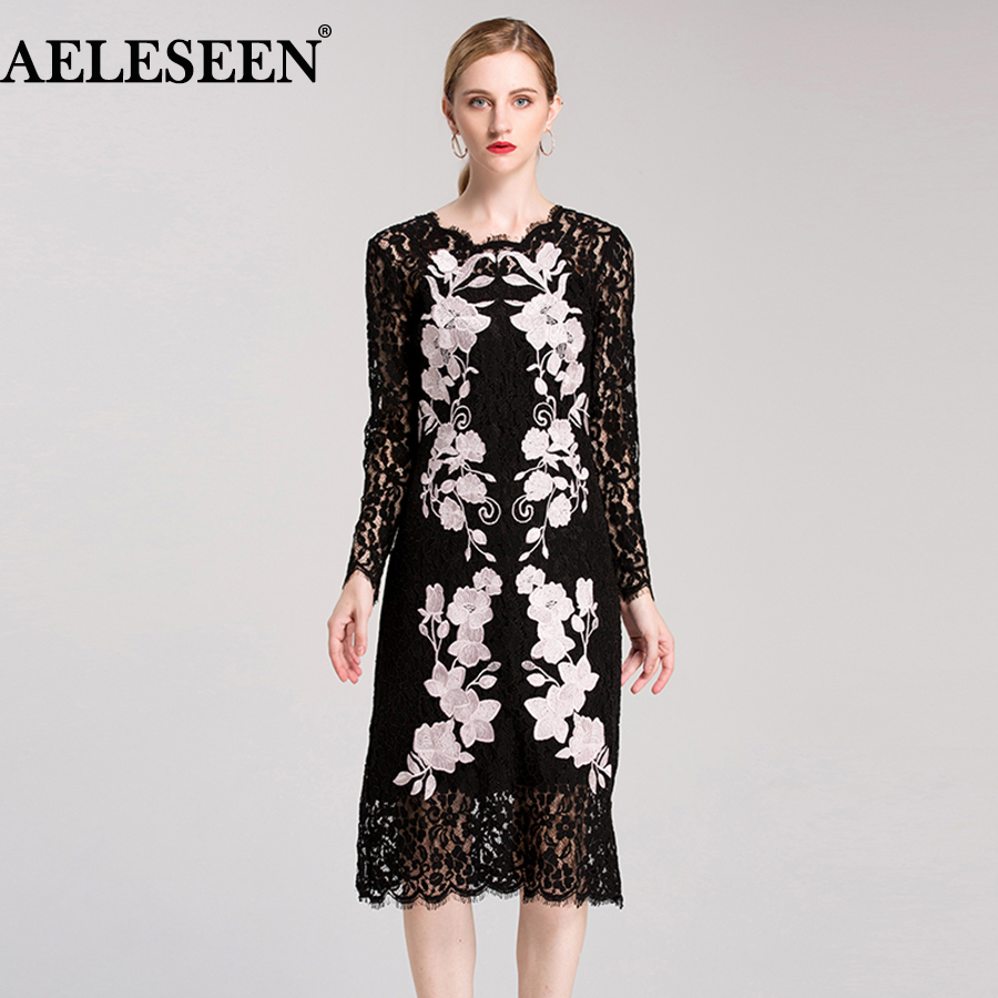 Ladies Women Lace Dress 2018 Fashion Summer Full Sleeve Purple Flower Embroidery Black Hollow Mid Calf