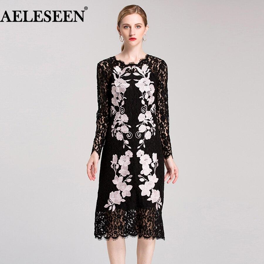 Dames femmes dentelle robe 2018 mode été pleine manches violet fleur broderie noir creux mi-mollet piste Sexy élégante robe